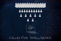 People's shared info collected by electronic brain, collective i Royalty Free Stock Photography
