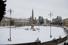 People's Square - Piazza del Popolo under snow. This picture was taken february 4th 2012, after one of the heaviest snowfall in Rome since 1985. This is the Royalty Free Stock Photos