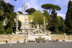 The people's square, Rome the Pincio hill fountain Royalty Free Stock Image