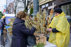 People's trades traditional palm bouquets on Palm Sunday Stock Photography