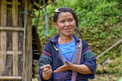 People of Sa Pa in Vietnam. Female guide of the Black Hmong ethic minority people in the mountains of Sa Pa Royalty Free Stock Photography