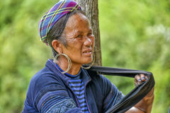 People of Sa Pa in Vietnam. Old woman of the Black Hmong Ethic Minority people in Sa Pa Royalty Free Stock Photography