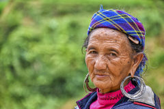 People of Sa Pa in Vietnam. An old woman of the Black Hmong ethic minority people in the mountains of Sa Pa Stock Image