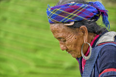 People of Sa Pa in Vietnam. Old women of the Black Hmong ethic minority people in the mountains of Sa Pa Royalty Free Stock Photo
