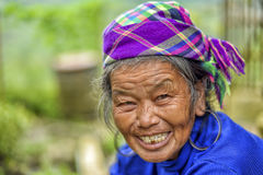 People of Sa Pa in Vietnam. Old women of the Black Hmong ethic minority people working in the mountains of Sa Pa Stock Photo