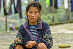 People of Sa Pa in Vietnam. Woman of the Black Hmong Ethic Minority people in Sa Pa Royalty Free Stock Image