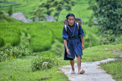 People of Sa Pa in Vietnam. Woman of the Black Hmong ethic minority people working in the mountains of Sa Pa Stock Photo