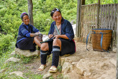 People of Sa Pa, Vietnam. Women of the Black Hmong ethic minority people in the mountains of Sa Pa Royalty Free Stock Image