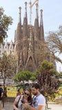 People and Sagrada Familia Stock Photo