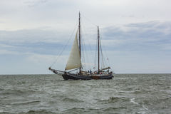 People sail at the vessel Aagtje Stock Image