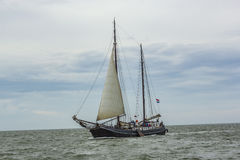 People sail at the vessel Aagtje Stock Photography