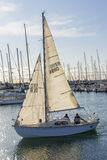 People in sailboat and marina in Melbourne Royalty Free Stock Photo