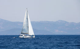 People in sailboat tour in Aegean sea. Royalty Free Stock Photo