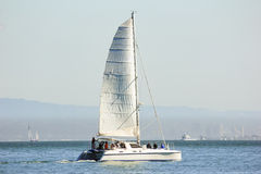 People sailing boat near San Francisco. People sailing boat near San Francisco, USA Royalty Free Stock Images
