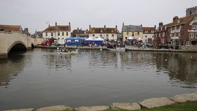 People sailing boat on the river Wareham market town Dorset England UK situated on the River Frome near Poole stock video footage