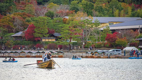 People sailing boats at Arashiyama, Kyoto Stock Photos