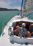 People Sailing in The Marlborough Sounds of New Zealand Royalty Free Stock Photography