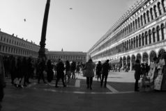 People in Saint Mark`s Square in Venice-Italy 2019. People in Saint Mark`s Square in Venice-Italy 2019 Black and White photo stock photography