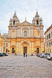 People at Saint Paul Cathedral in Mdina in Malta Royalty Free Stock Photo