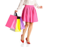 People, sale, black friday concept - woman with shopping bags Royalty Free Stock Image