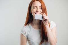 People, sale and consumerism concept - close up of happy woman with credit card. People, sale and consumerism concept - close up of happy woman with credit card Royalty Free Stock Photo
