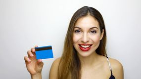 People, sale and consumerism concept. Close up of happy woman with credit card.  royalty free stock photography