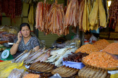 People sale dry fishes, Royalty Free Stock Photo