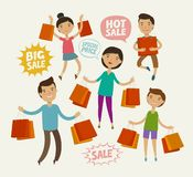 People on sale. Sell-out, shopping concept. Funny cartoon vector illustration vector illustration