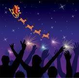 People saluting flying santa. Vector silhouettes of happy people saluting flying santa Stock Photos