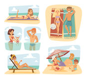 People on the sand beach fun vacation happy time cartoon vector illustration. Stock Photography