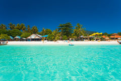 People Sand Clear Water Paradise Island Stock Image