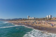 People on Santa Monica Beach, in Los Angeles, USA stock photography
