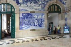 People in Sao Bento Railway Station in Porto, Portugal Stock Photo