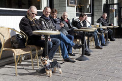 People sat outside a cafe,  Belgium Royalty Free Stock Photography