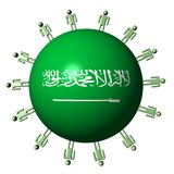 People on Saudi Arabian flag sphere Stock Photo