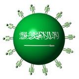 People on Saudi Arabian flag sphere Stock Photo