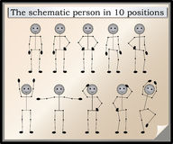 People 10. The schematic person in 10 positions Stock Images