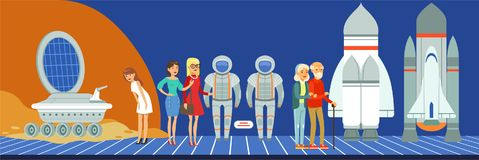 People at science exhibition, museum visitors looking at space equipment vector Illustration in flat style. Web design Royalty Free Stock Photo