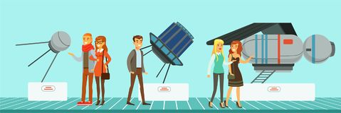 People at science exhibition, museum visitors looking at space satellites vector Illustration in flat style. Web design Stock Image
