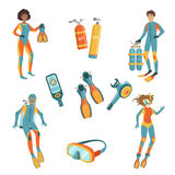 People, Scuba Diving And Freediving Gear. People, Scuba Diving And Free diving Gear Bright Color Cartoon Simple Style Flat Vector Set Of Stickers  On White Stock Photo
