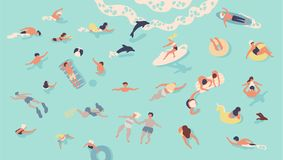 People in sea or ocean performing various activities. Men and women swimming, diving, surfing, lying on floating air. Mattress and sunbathing, playing with ball vector illustration