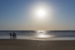 People in a sea on a sunset, Arambol beach, Goa, India. Paraglid Royalty Free Stock Photo