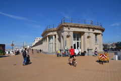 People on a seafront promenade in Oostende, Belgium Stock Images