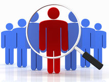 People search. Group of people standing with magnifying glass on a white background Royalty Free Stock Photography