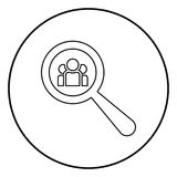 People search icon black color in circle round. Outline Stock Photo