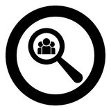 People search icon black color in circle round. Vector illustration Stock Images