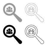 People search icon set grey black color. Outline Stock Images
