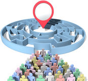 People search maze place location marker. People seek to find place marker copy space symbol of problem solution in maze puzzle Stock Photo
