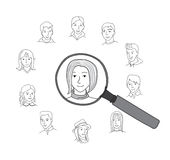 People search round vector concept Stock Photography