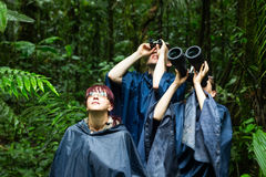 People Searching For Birds With Binoculars Stock Photography